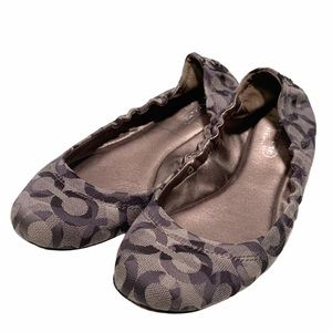 Coach Signature C Tan Brown Beige Aly Ballet Flats